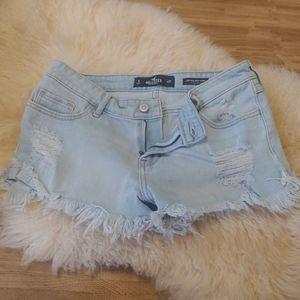 Hollister jean shorts fringe hem